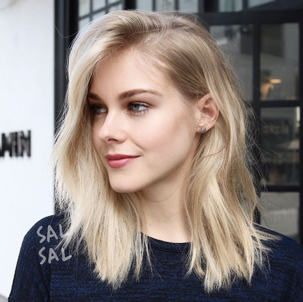 Stylish blonde lobs haircut ideas 19