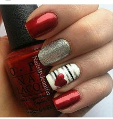 Lovely valentine nails design ideas 80