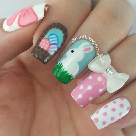 Cute and Easy Easter Nail Art Design Ideas 32