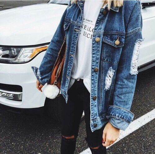 Denim Jacket Outfits Inspirations for Girl 24