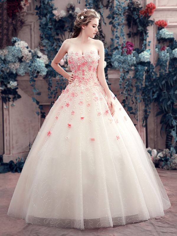 Charming Sweetheart Little Flowers Lace-Up Ball Gown Wedding Dress