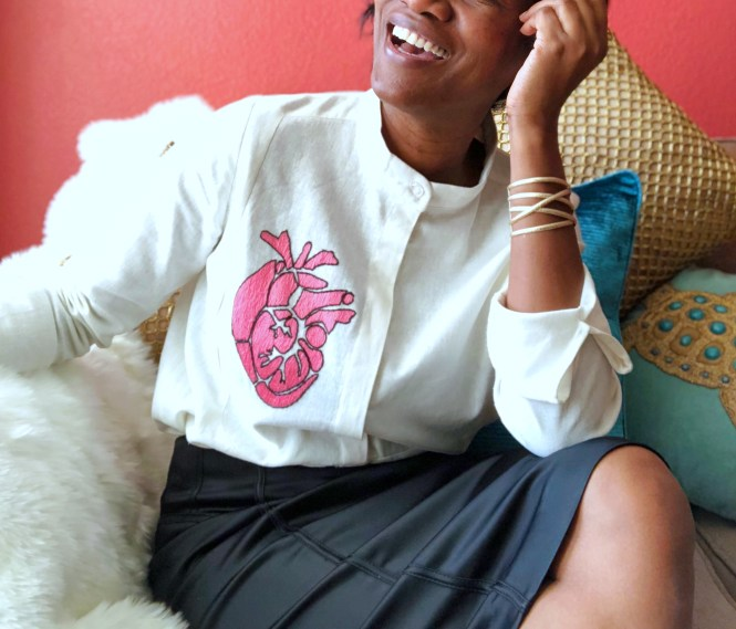 Embroidered Amor and Rosas Shirt