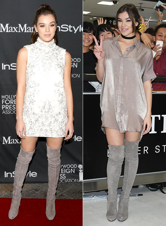 Hailee Steinfeld with outfits in neutral tones