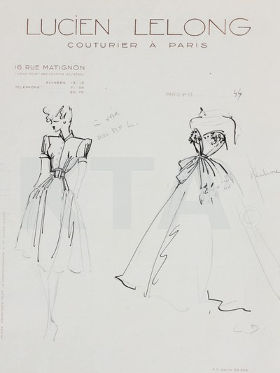 Mame Fashion Dictionary: Christian Dior Sketch for Lucien Lelong 1944-45