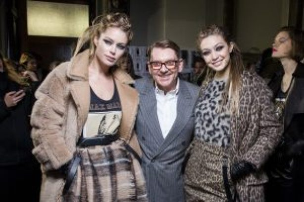 Mame-Doutzen Kroes, Ian Griffiths and Gigi Hadid backstage at Max Mara FW 2018 show
