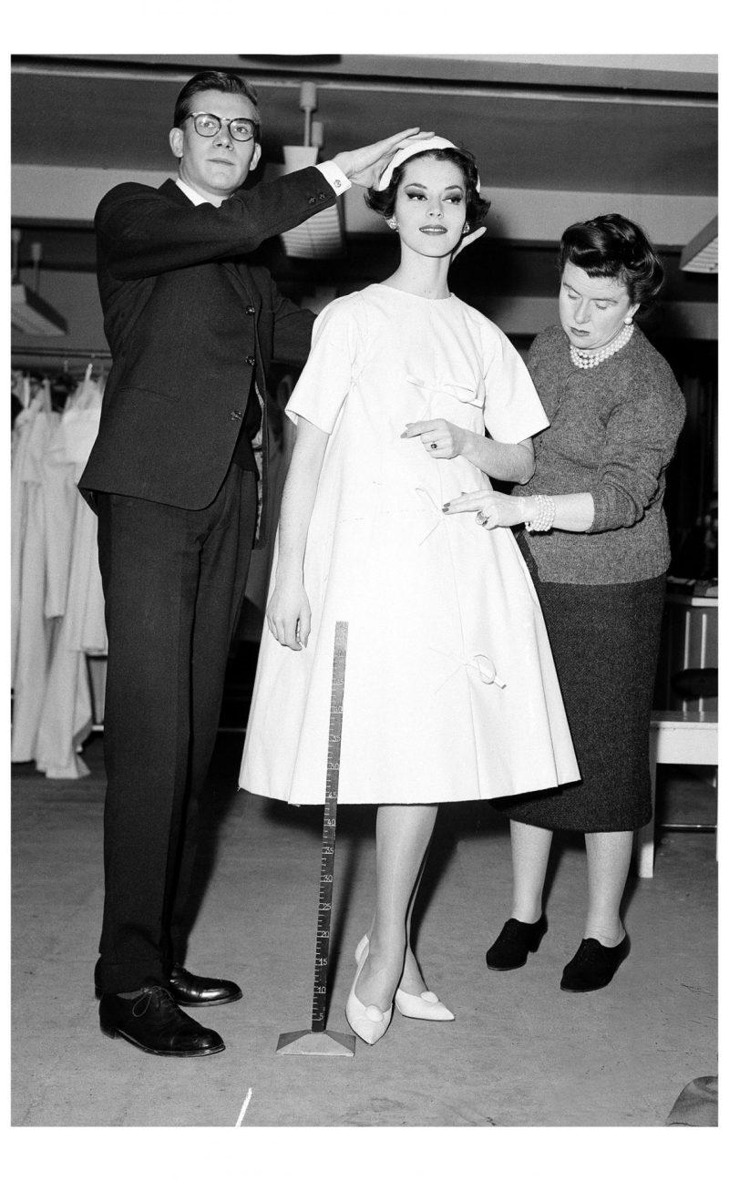 Yves Saint Laurent Adjusting a Trapeze Dress for Dior on Svetlana Lloya 1958