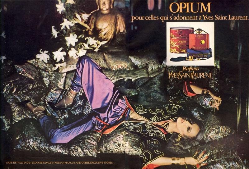 Yves Saint Laurent Jerry Hall Opium Perfume Campaign 1977