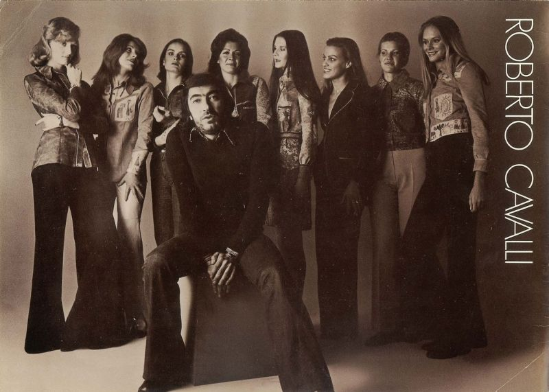 Designer Roberto Cavalli With His Models