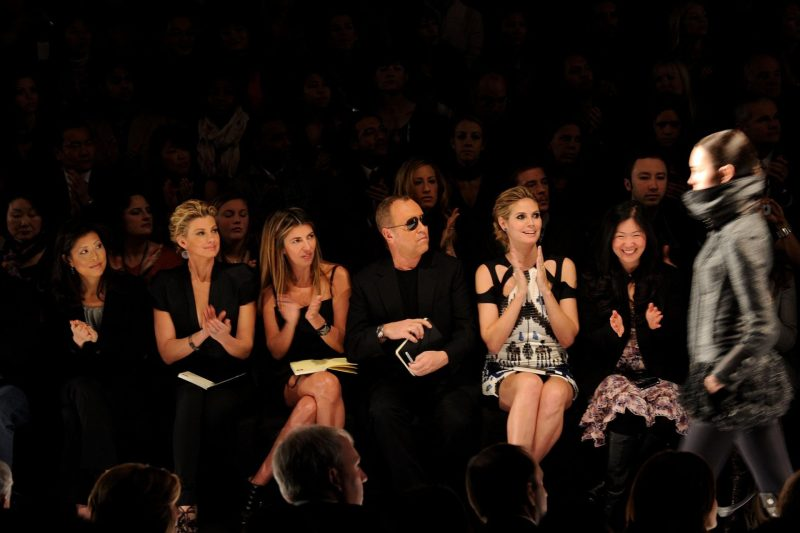 Project Runway Judges Heidi Klum, Nina Garcia, Faith Hill, Michael Kors, Bryant Park. Fashion Show 2010