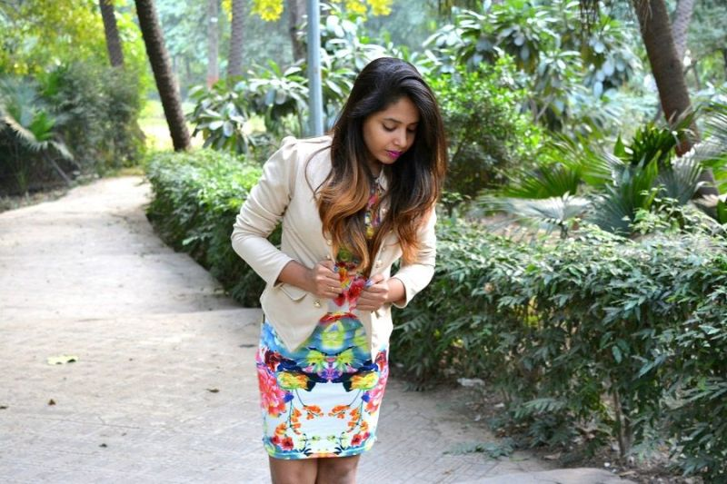 floral print dress grey blazer fall outfit