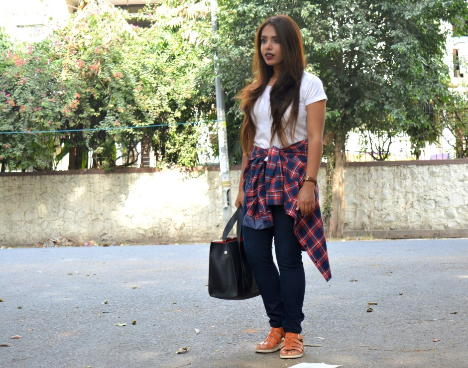 plaid-shirt-tan-sandals-black-bag-white-tshirt