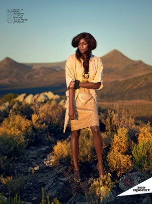 Aminat Ayinde covers Baku Magazine, shot by Adrian Steirn on location in South Africa.