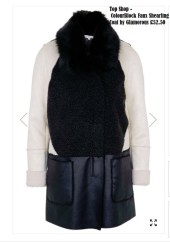 Top Shop - ColourBlock Faux Shearling Coat by Glamorous £52.50