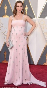 Emily Blunt in a pink Prada gown