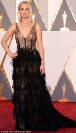 Jennifer Lawrence wearing a black Dior Haute Couture gown