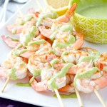 Shrimp Skewers with Arugula Pesto Aioli