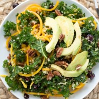 Spiralized Butternut Squash, Kale, and Quinoa Salad {with Sriracha Vinaigrette}