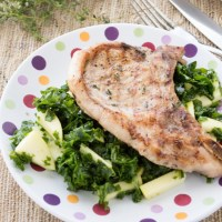 Grilled Pork Chops with Kale Apple Salad