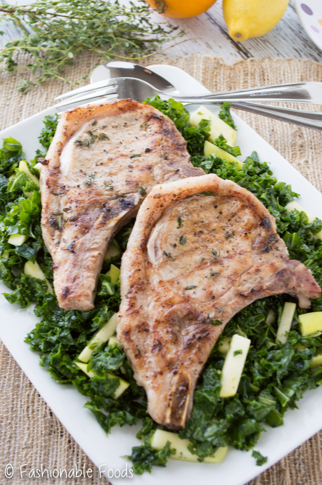 Grilled Pork Chops with Kale and Apple Salad
