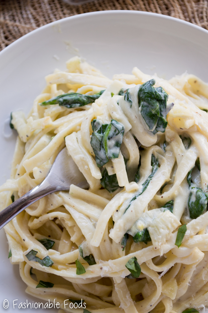 Creamy Parmesan Fettuccine with Spinach and Fennel