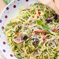 Zucchini and Cucumber Noodle Antipasto Salad {with Sun-Dried Tomato-Basil Vinaigrette}