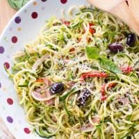 Zucchini and Cucumber Noodle Antipasto Salad {with Sun-Dried Tomato-Basil Vinaigrette}