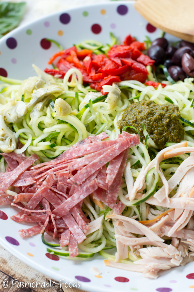 Zoodle Antipasto Salad with Sun Dried Tomato Basil Vinaigrette