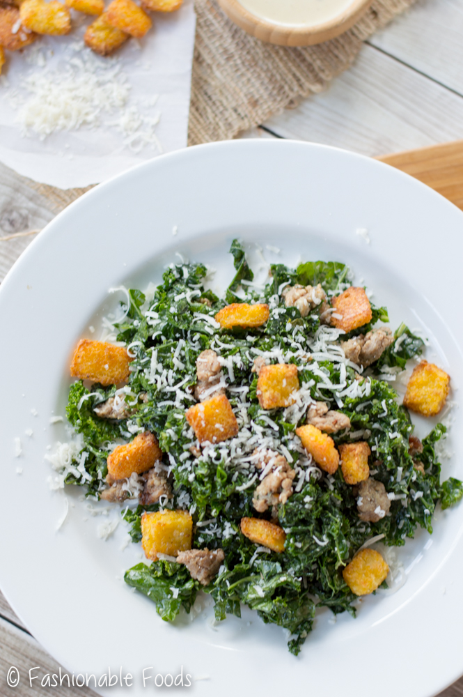 kale-caesar-salad-with-sausage-and-polenta-croutons_