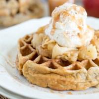 Cinnamon Apple Pie Waffles {with Caramel Swirl Whipped Cream}