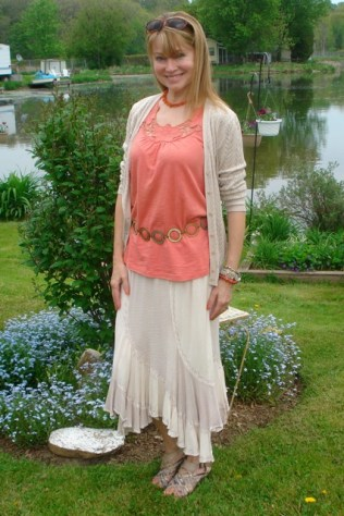 peachy tank top with cardigan