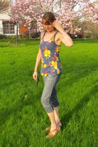 capris with floral top