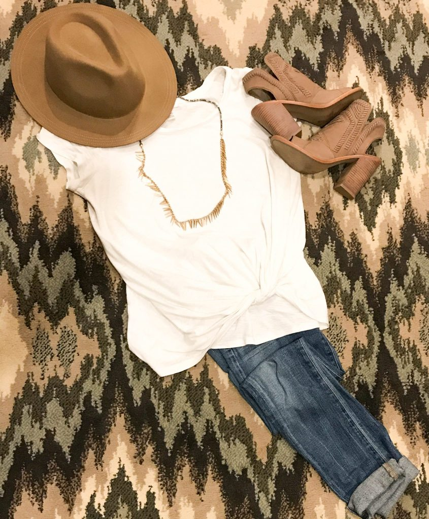 Basic tee, jeans, booties and hat