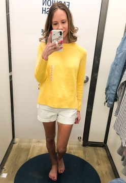 ON white shorts-yellow sweater