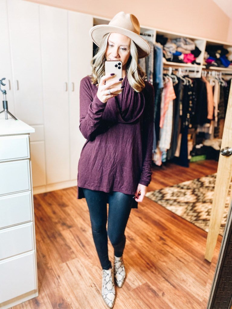 How to Wear Spanx Faux Leather Leggings, tips featured by top Pittsburg mom blogger, Fashionably Late Mom.