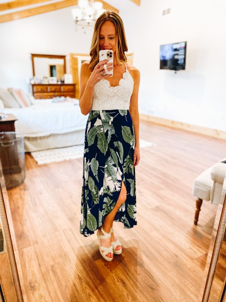 Cute Summer Dresses for Moms featured by top Pittsburg mom fashion blog, Fashionably Late Mom. - tropical dress, vacation dress