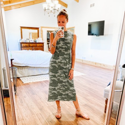 Cute Summer Dresses for Moms featured by top Pittsburg mom fashion blog, Fashionably Late Mom. - camo midi dress