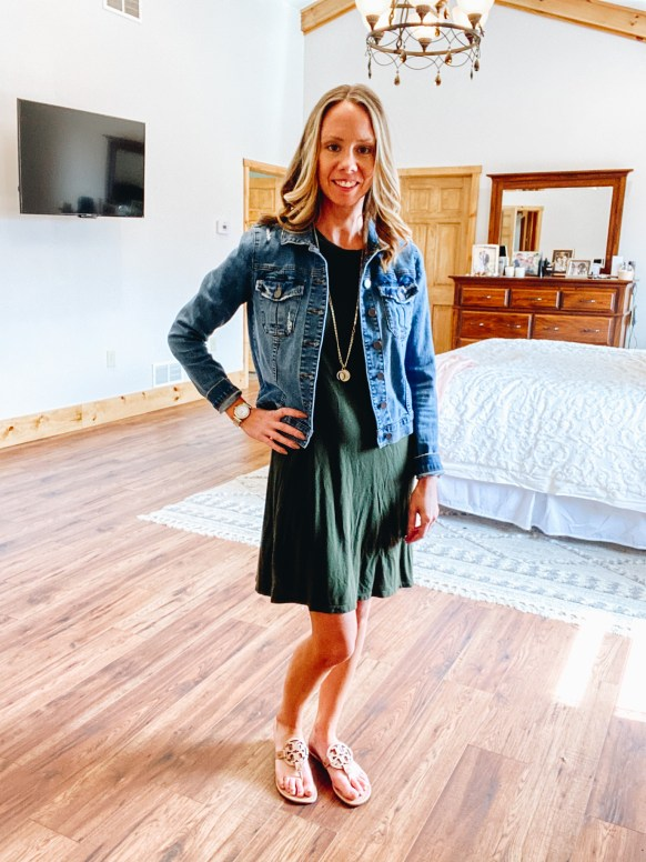 Top 7 Cute Spring Sandals for Women featured by top Pittsburgh fashion blogger, Fashionably Late Mom.  Spring Sandals by popular Pittsburgh fashion blog, Fashionably Late Mom: image of a woman wearing a denim jacket, green dress, and Tory Burch slide sandals.