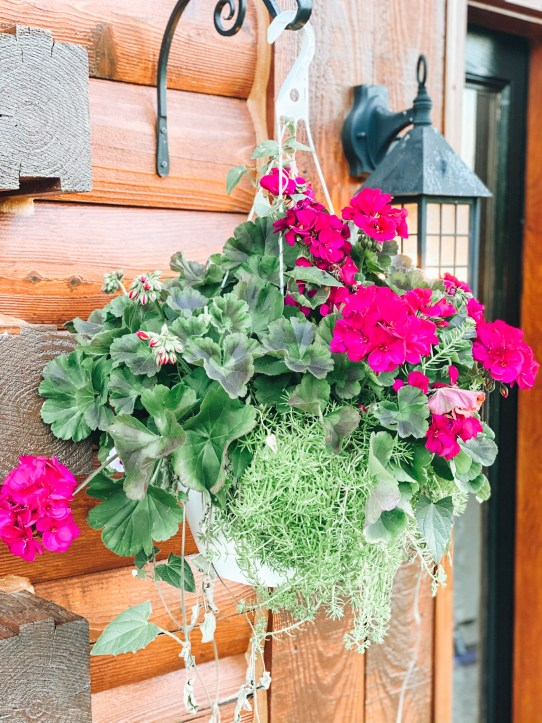 hanging flower basket |  Summer Front Porch by popular Pittsburg life and style blog, Fashionably Late Mom: image of a white hanging flower basket with pink flowers.