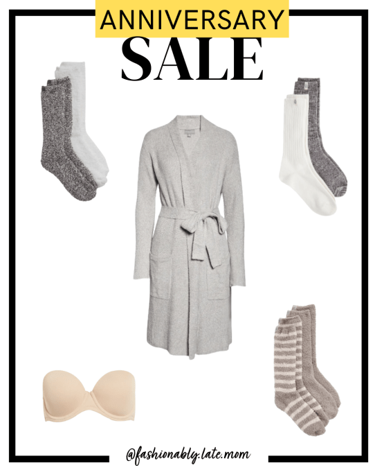 2021 Nordstrom Anniversary Sale, Barefoot Dreams, cozy socks, strapless bra, ugg socks | Nordstrom Anniversary Sale Preview by popular Pittsburgh fashion blog, Fashionably Late Mom: collage image of Nordstrom socks and robe.