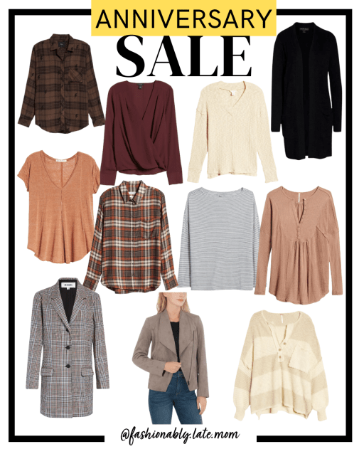 2021 Nordstrom Anniversary Sale, nordstrom, blouses, blazers, flannel top, womens fashion | Nordstrom Anniversary Sale Preview by popular Pittsburgh fashion blog, Fashionably Late Mom: collage image of Nordstrom shirts.