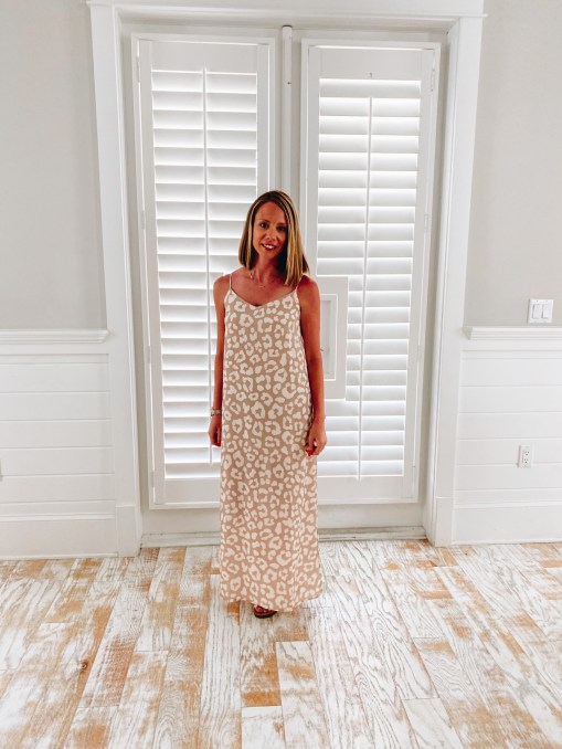 Pink Lily, 30A packing list, maxi dress, vacation outfits   30A Packing List by popular Pittsburgh life and style blog, Fashionably Late Mom: image of a woman wearing a Pink Lily leopard print maxi dress.