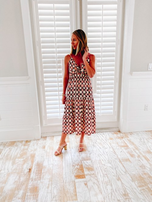loft dress, vacation dress, 30a packing list   30A Packing List by popular Pittsburgh life and style blog, Fashionably Late Mom: image of a woman wearing a Loft dress and white strap block heel sandals.