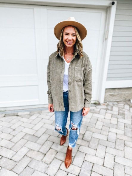 Pink Lily by popular Pittsburgh fashion blog, Fashionably Late Mom: image of a woman wearing a Pink Lilly  tan felt fedora hat, grey shacket, distressed jeans, brown ankle boots, and white graphic t-shirt.