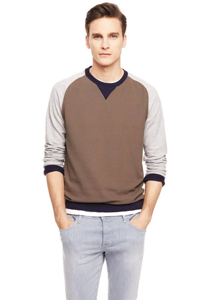 Tricolor textured cotton-blend sweatshirt SHOP NOW >> http://mng.us/1kKYQkt