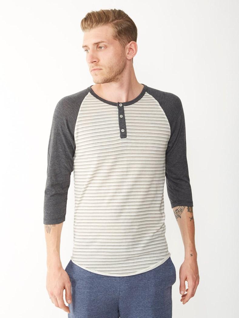 Basic Printed Raglan Henley Shirt