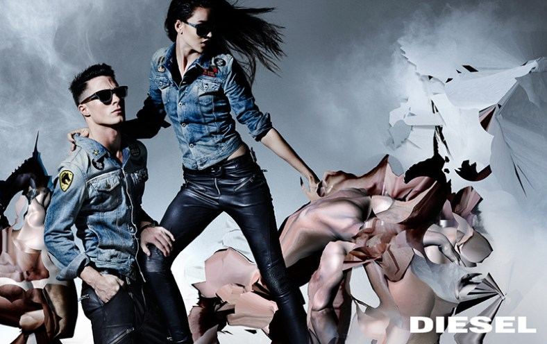 "The 'Neo-neoclassic campaign' is a pop amalgam of the classical, the digital and the real. Marking the beginning of a new era for Diesel and featuring Nicola Formichetti's foundational collection for the brand. The campaign and collection are built upon three of the timeless 'Diesel Icons': Leather-Rock 'n' Roll, Denim and Military-Utility. These three pillars are intrinsic to Diesel and are a part of the foundations of the brand today.  The campaign is a play on the notion of these contemporary 'pop' classics in fashion, mixed with a view of the classical in art, a new form of Diesel's alternative spirit. Stars such as Colton Haynes and Kiko Mizuhara sit easily beside the cast of characters from models and actors to musicians and mere internet cast mortals – punctuated by muscle-bound, 'glitched' and abstracted male nudes. All are part of the new, democratically 'glitched', global community of Diesel.  The campaign is a playful rifling through pivotal remembered images for both Nicola Formichetti and Nick Knight and a sophisticated forming of something new through the digital medium.  ""The new vision of the brand is strong for both men and women, it is a united vision,"" says Nicola Formichetti. ""There are groups of boys and girls, slick and street, it all feels even. This is a mixture of people found in digital space as well as actors, models and musicians; it's an inclusive pop vision of all different kinds of people who are true to themselves. The casting is a big part of what we do at Diesel; it's the forming of a new kind of tribe.""     www.diesel.com"