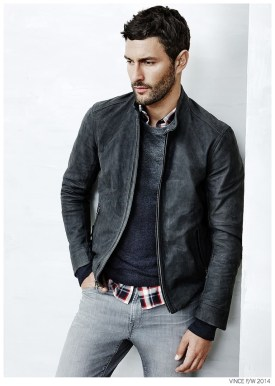 American model Noah Mills stars in the fall 2014 look book of men's clothing label Vince. Known for its clean classic style, Vince doesn't disappoint when it comes to fall. Created for the contemporary urban man at heart, separates come together with a refined ease. Straight-cut denim jeans and relaxed joggers are paired with fitted knitwear, premium leather jackets and slim-fit shirts for a series of accessible fall styles.