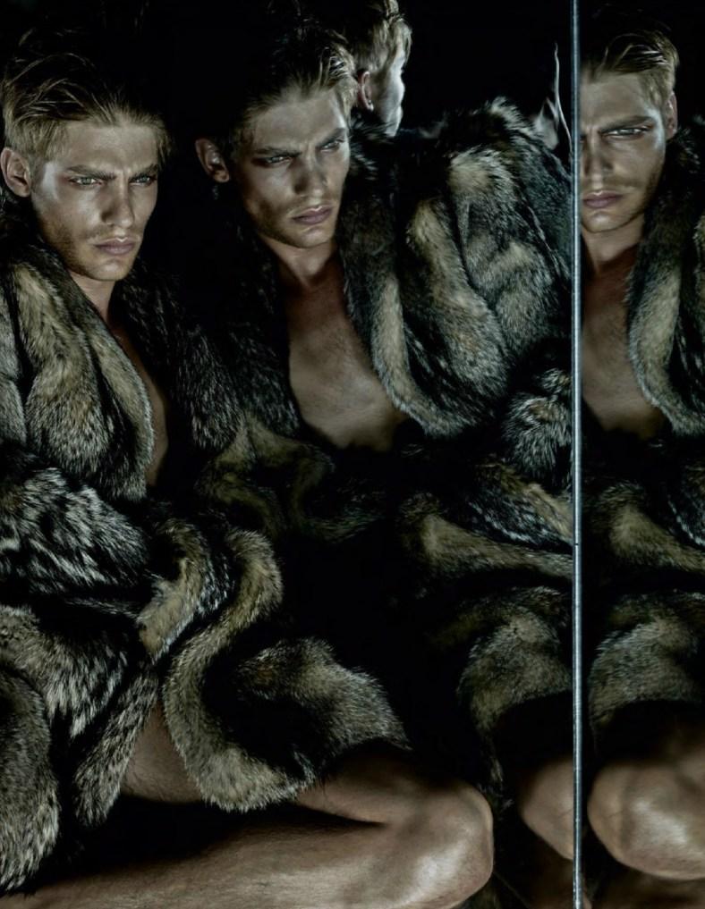 Vogue Hommes International F/W 14.15 THE PREDATORS Photographer: Sølve Sundsbø  Stylist: Beat Bolligner Hair: Shon Make-up: Marla Belt