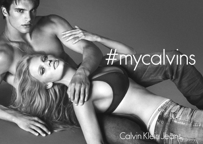 Lara Stone is back at Calvin Klein for fall. In her first campaign since giving birth to son Alfred Walliams last year, Stone is featured in the joint fall campaign for Calvin Klein Jeans and Calvin Klein Underwear.   In the photos by Mert Alas and Marcus Piggott, the Dutch model is seen solo as well as with Matt Terry. The ads build on the #mycalvins social media campaign that launched in February, which has already engaged over 6 million fans and now extends from underwear to jeans. The ads, which launch in September, call out the #mycalvins hashtag prominently.