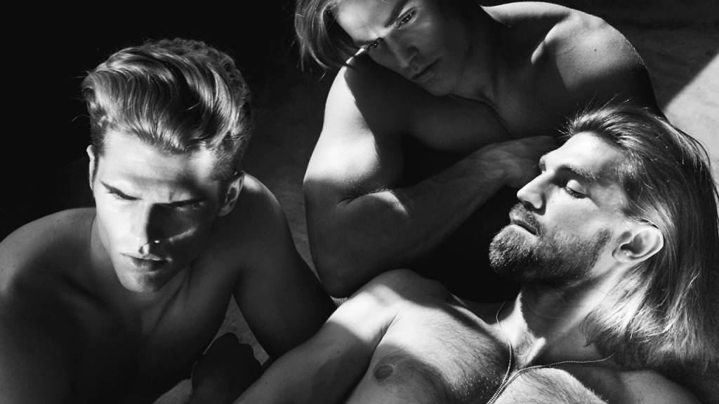 "Photography duo ChuanDo & Frey captured models Brian Shimansky, Henrik Fallenius and John Kenney in the grooming story ""LA BARE"" for the Fall/Winter 2014 issue of L'Officiel Hommes Singapore."